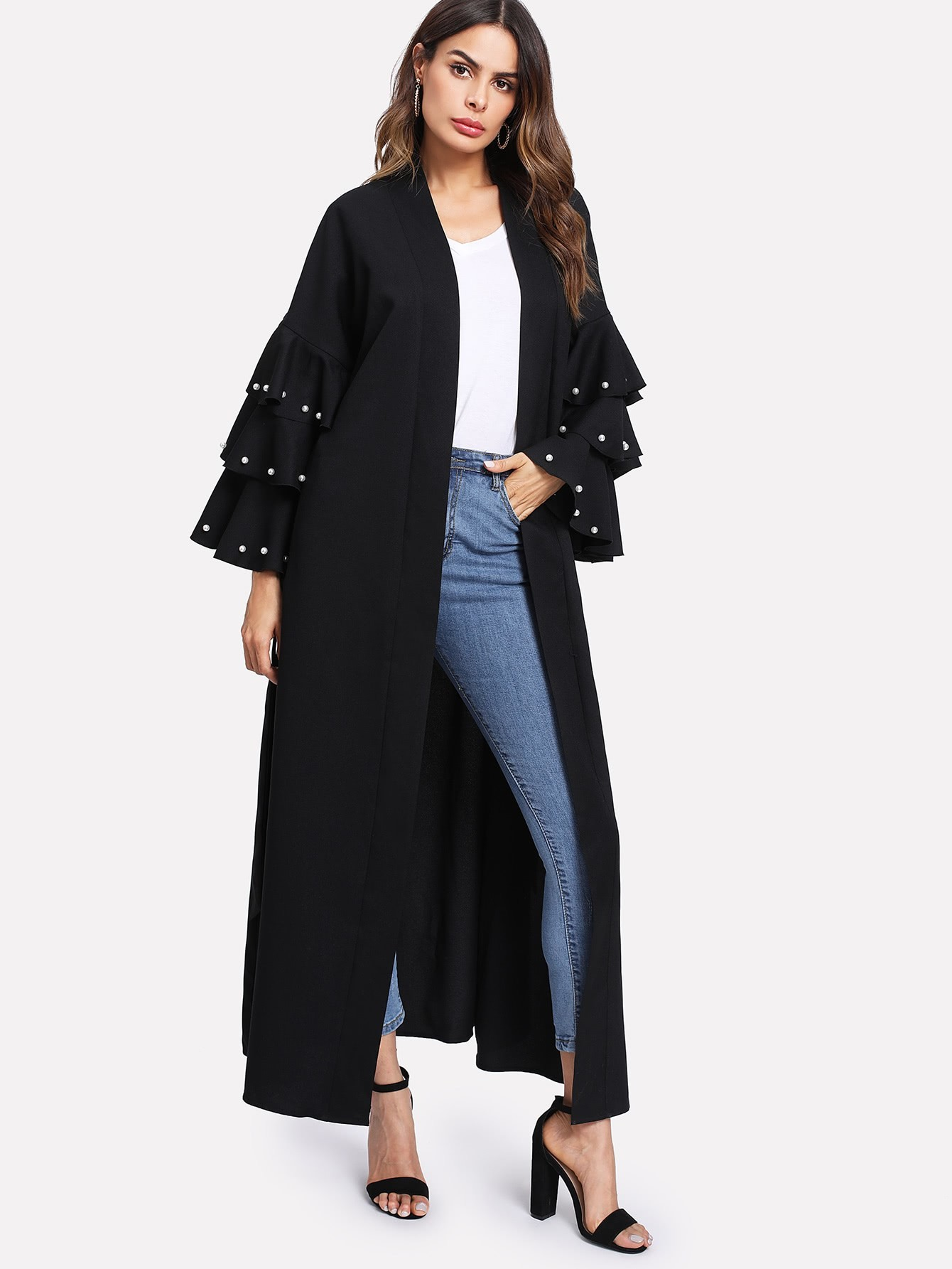Pearl Beading Layered Sleeve Belted Abaya