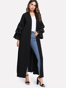 Image of Pearl Beading Layered Sleeve Belted Abaya