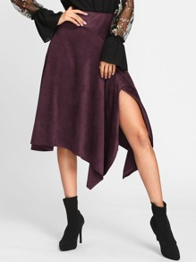 Split Handkerchief Hem Suede Skirt