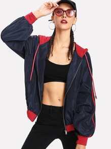 Two Tone Hooded Windbreaker Jacket