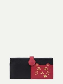 Two Tone Cat Print PU Wallet