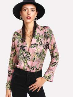 Floral Wrap Blouse Bodysuit