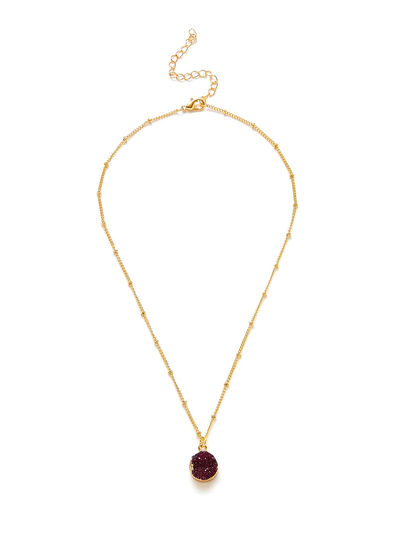 Round Pendant Beaded Chain Necklace