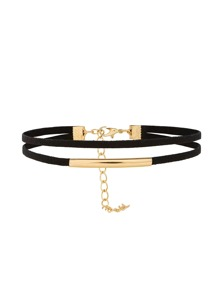 Metal Detail Layered Velvet Choker