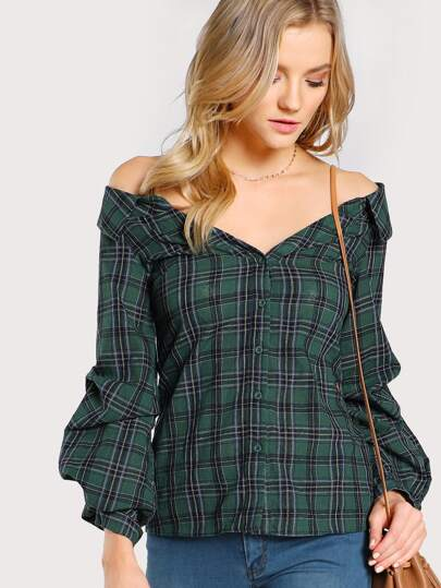 Gathered Sleeve Collared Bardot Shirt