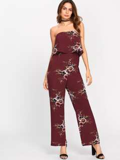 Flower Print Tube Jumpsuit