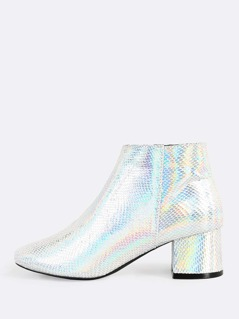 Irridescent Side Zipper Snake Print Booties SILVER