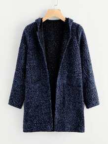 Space Dye Tweed Hooded Coat
