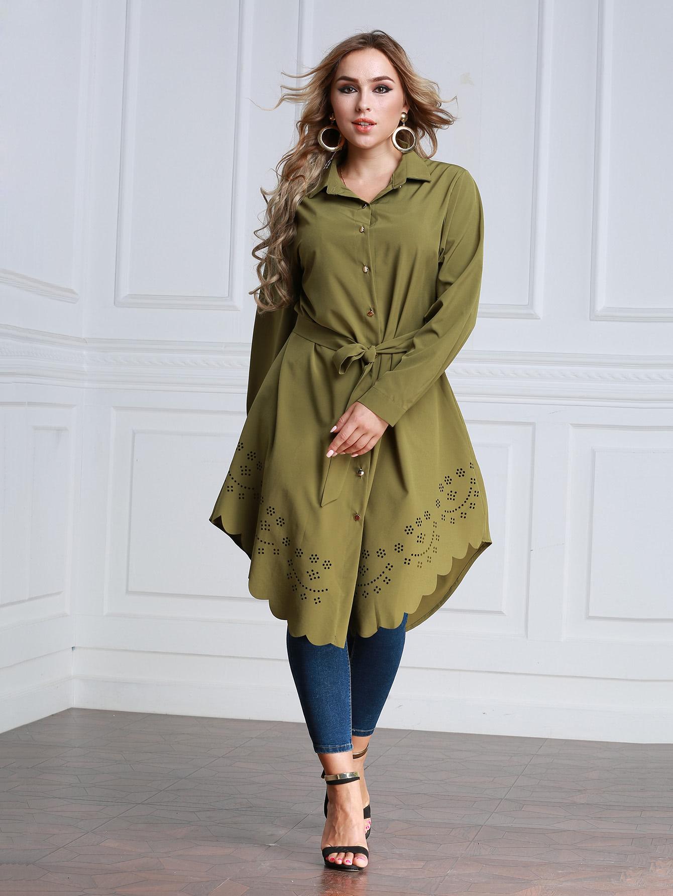 Купить Модное платье-рубашка с поясом и фестонами, null, SheIn