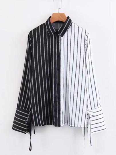 Tied Cuff Spliced Striped Blouse