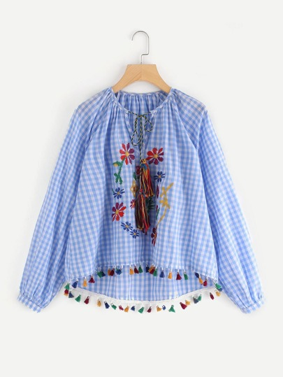 Tasseled Tie Flower Embroidered Gingham Top