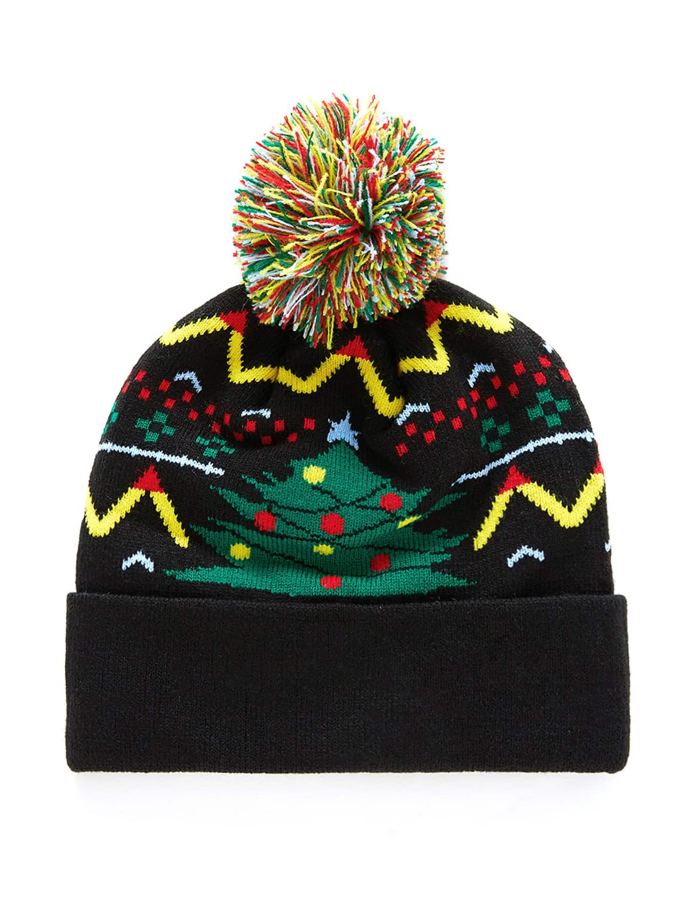 Christmas Tree Pattern Pom Pom Beanie Hat