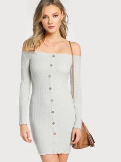 Off Shoulder Long Sleeve Ribbed Lettuce Hem Dress IVORY