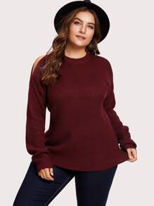Open Shoulder Solid Sweater