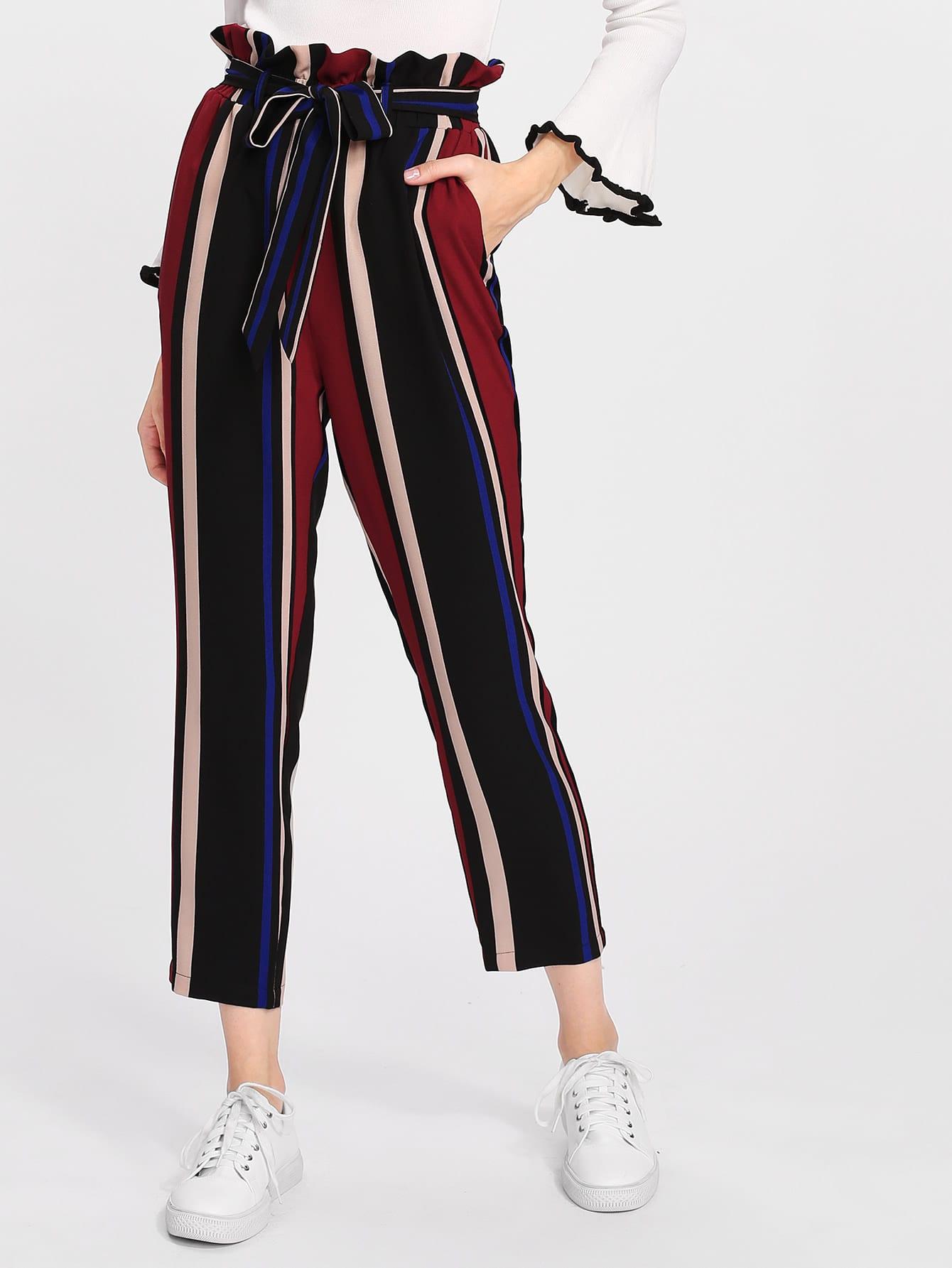 Self Belted Frilled Waist Striped Pants ruffle waist belted peg pants