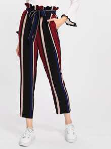 Self Belted Frilled Waist Striped Pants