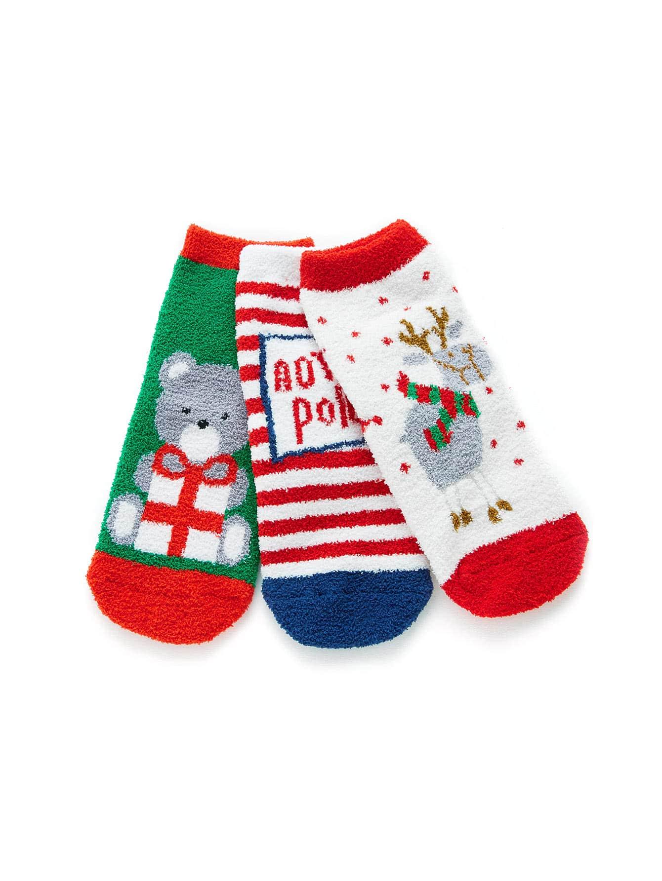 Christmas Animal Pattern Socks 3pairs animal embroidery invisible socks 3pairs