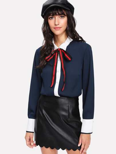 Contrast Trim Pearl Button Blouse