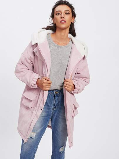 Drop Shoulder Sherpa Lined Hooded Padded Coat