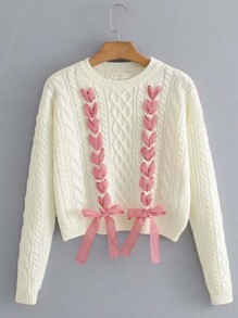 Gingham Lace Up Crop Sweater