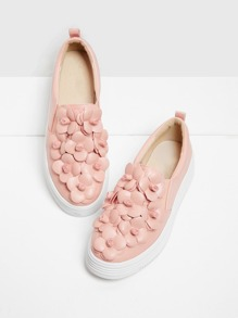 Flower Embellished Low Top Sneakers