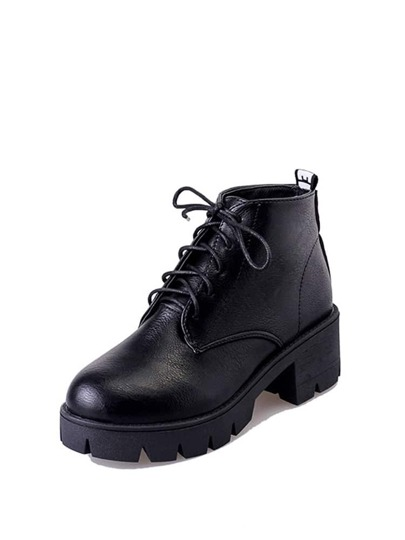 Round Toe Lace Up PU Boots