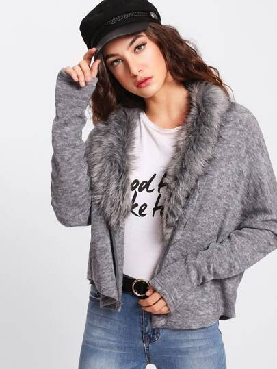 Faux Fur Neckline Heather Knit Dolman Coat