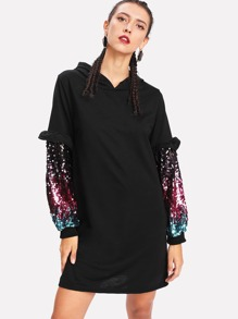 Colorful Sequined Sleeve Hoodie Dress