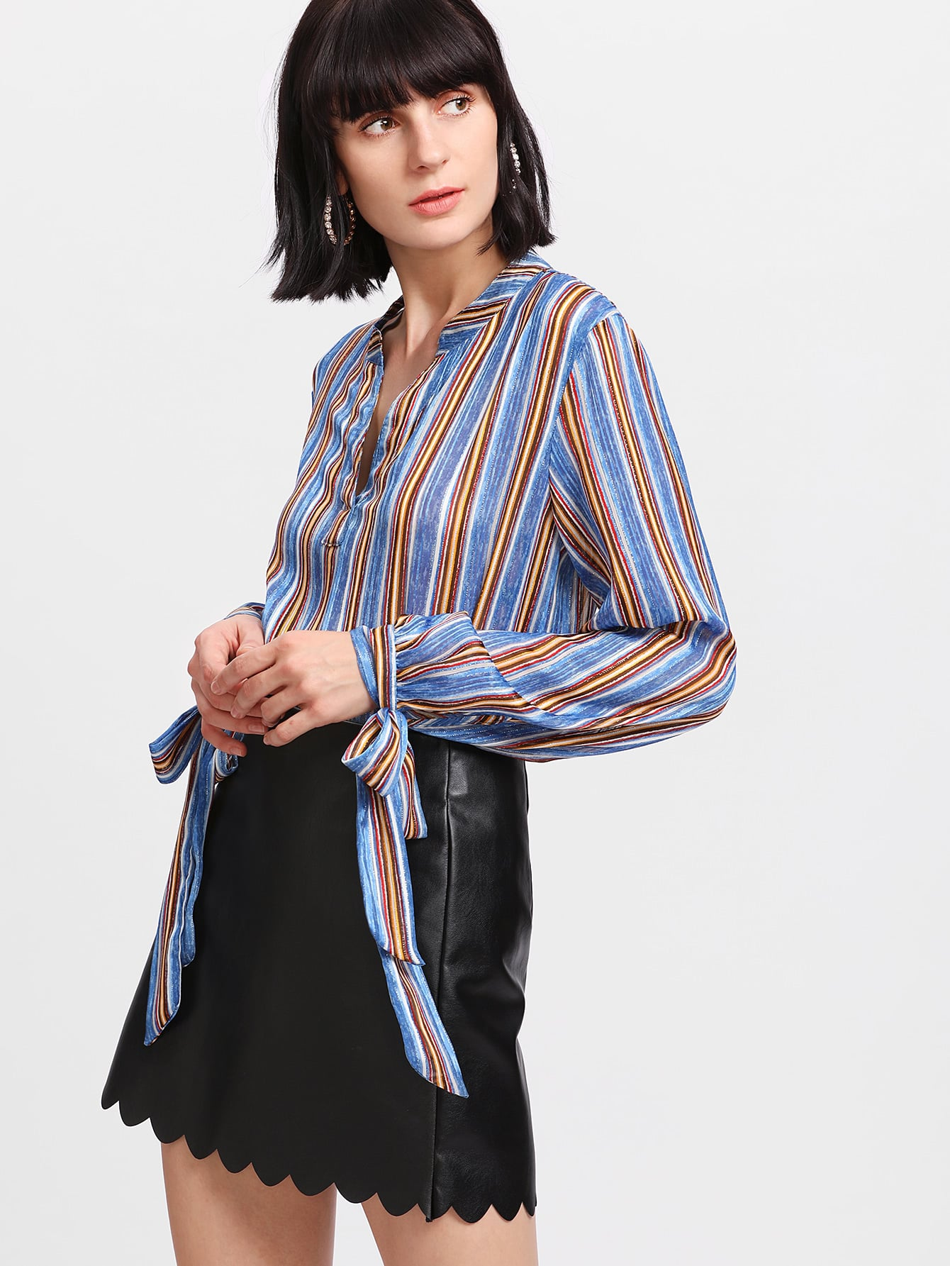 V Placket Tie Cuff Striped Top vertical striped embroidered half placket tie cuff blouse