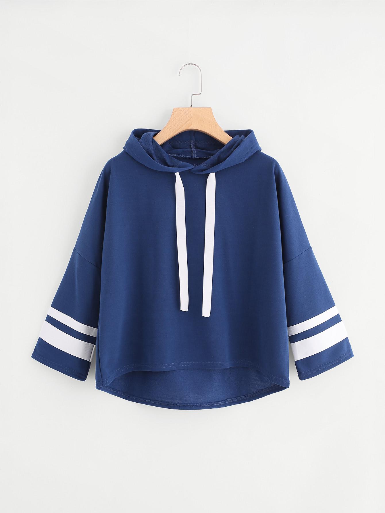 Varsity Striped Dip Hem Hoodie varsity print raw hem hoodie