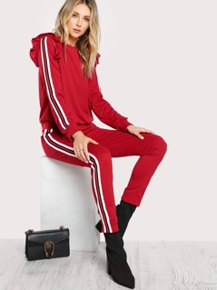 Ruffle Shoulder Detailed Striped Top & Matching Jogger Pants DARK RED