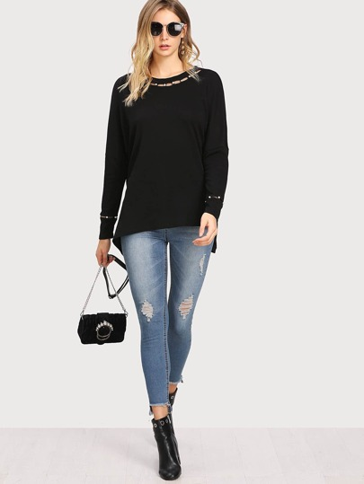 Cutout Pearls Embellished Tee