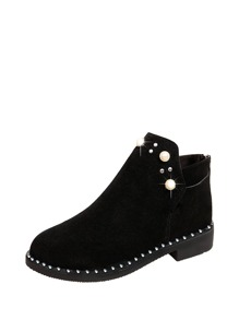 Faux Pearl Detail Back Zipper Ankle Boots