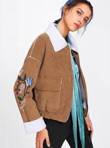 Botanical Embroidered Elastic Hem Corduroy Jacket