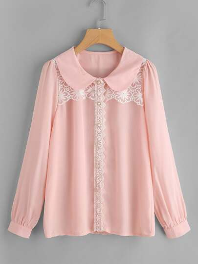 Contrast Lace Puff Sleeve Shirt