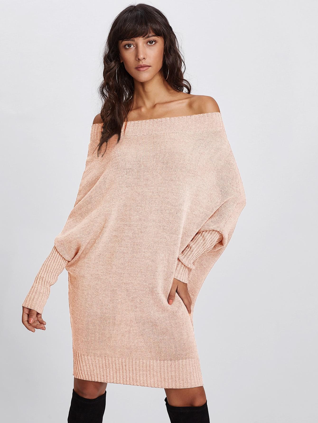 все цены на Off Shoulder Batwing Sleeve Sweater Dress