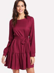Self Belt Ruffle Hem Long Sleeve Dress