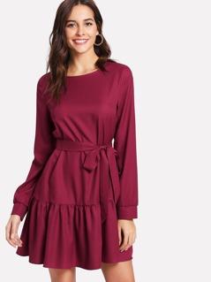 Self Belt Ruffle Hem Long Sleeve Dress