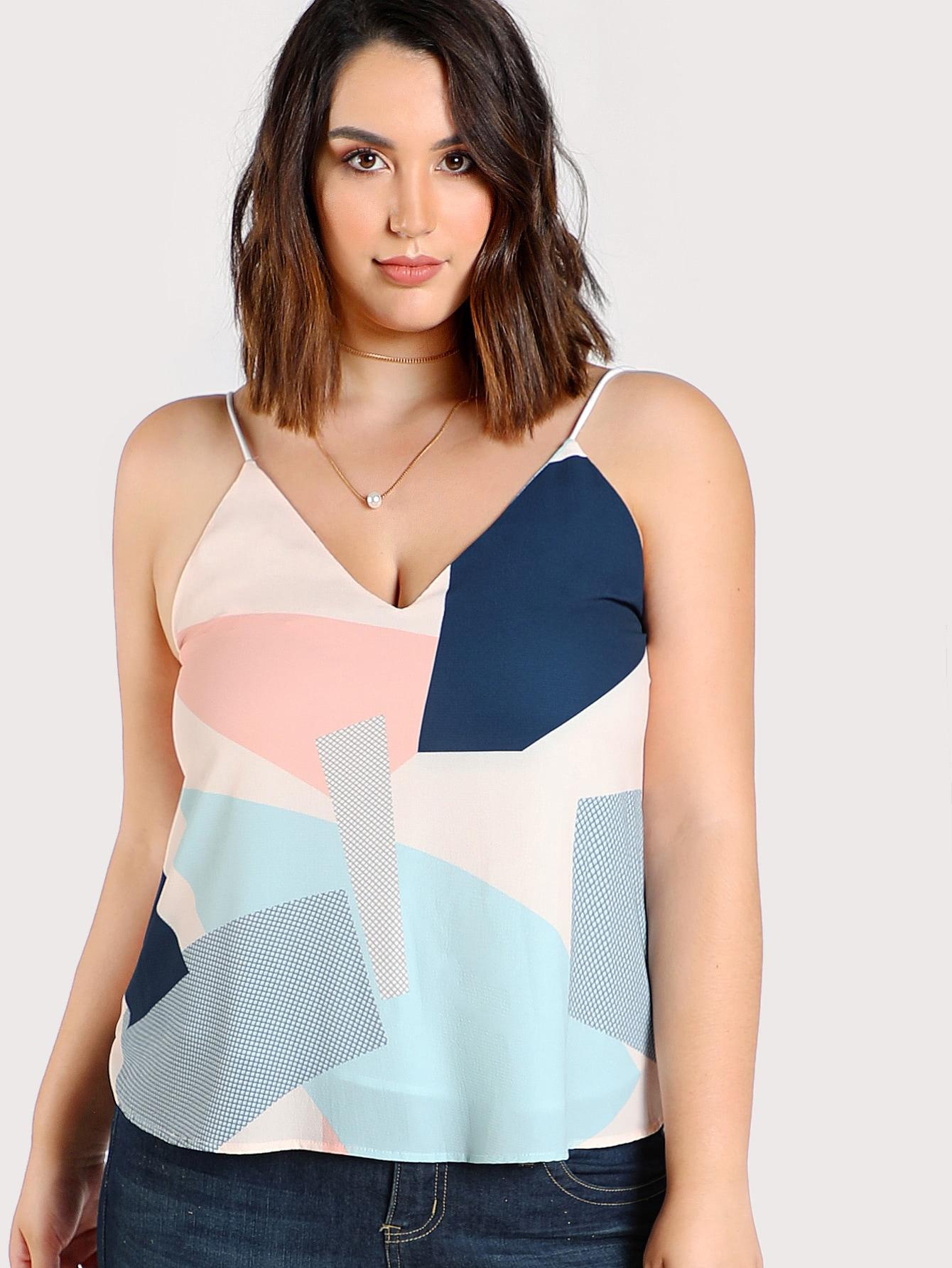 Купить Контрастный модный топ на бретельках, Jessica Lauren, SheIn