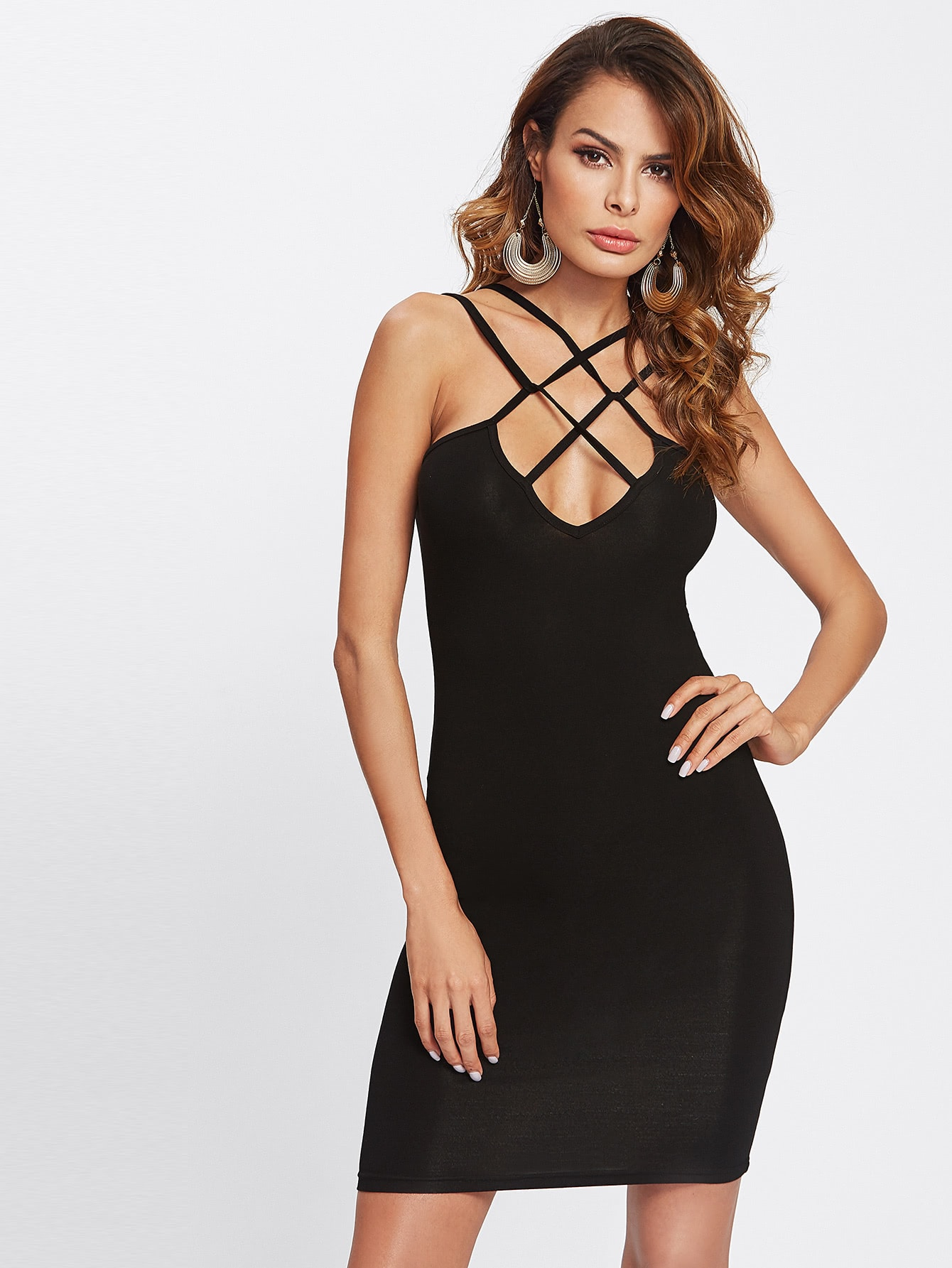 Caged Front Solid Fitted Dress caged neck solid dress