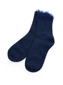 Contrast Faux Fur Trim Socks