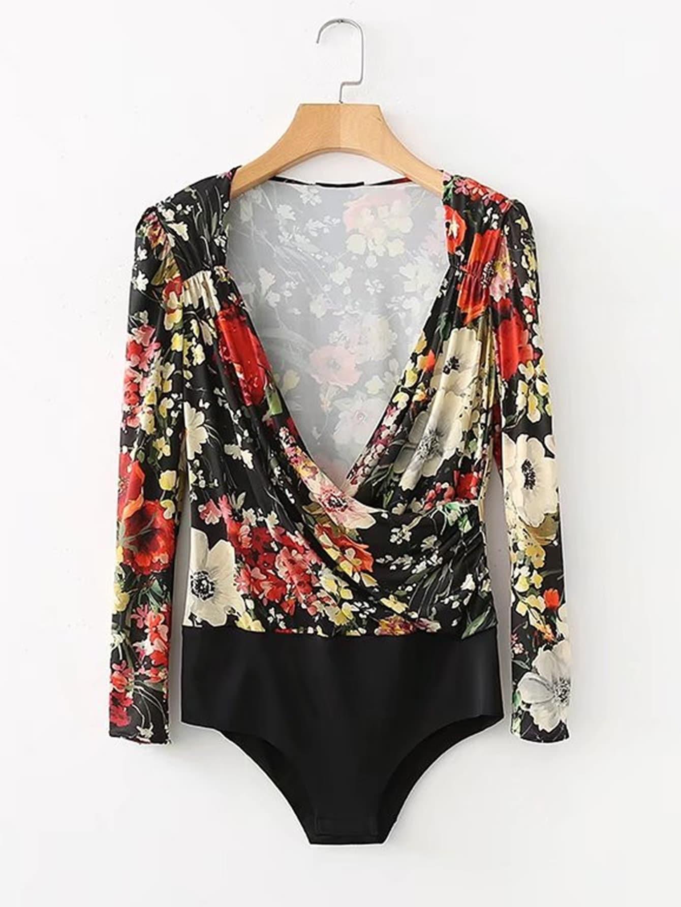 Surplice V Neckline Floral Bodysuit  цена и фото