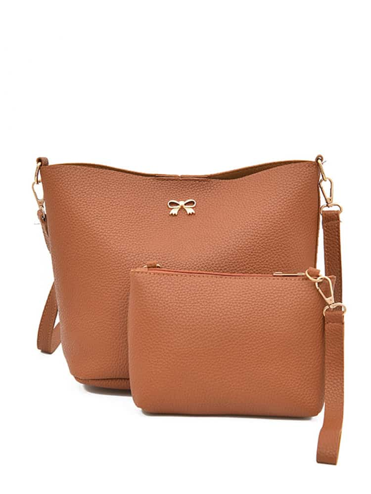 Bow Detail PU Shoulder Bag With Clutch patch detail combination bag with clutch bag