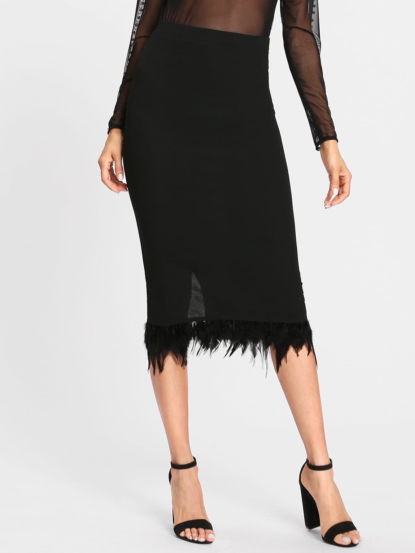 Slit Back Contrast Feather Pencil Skirt