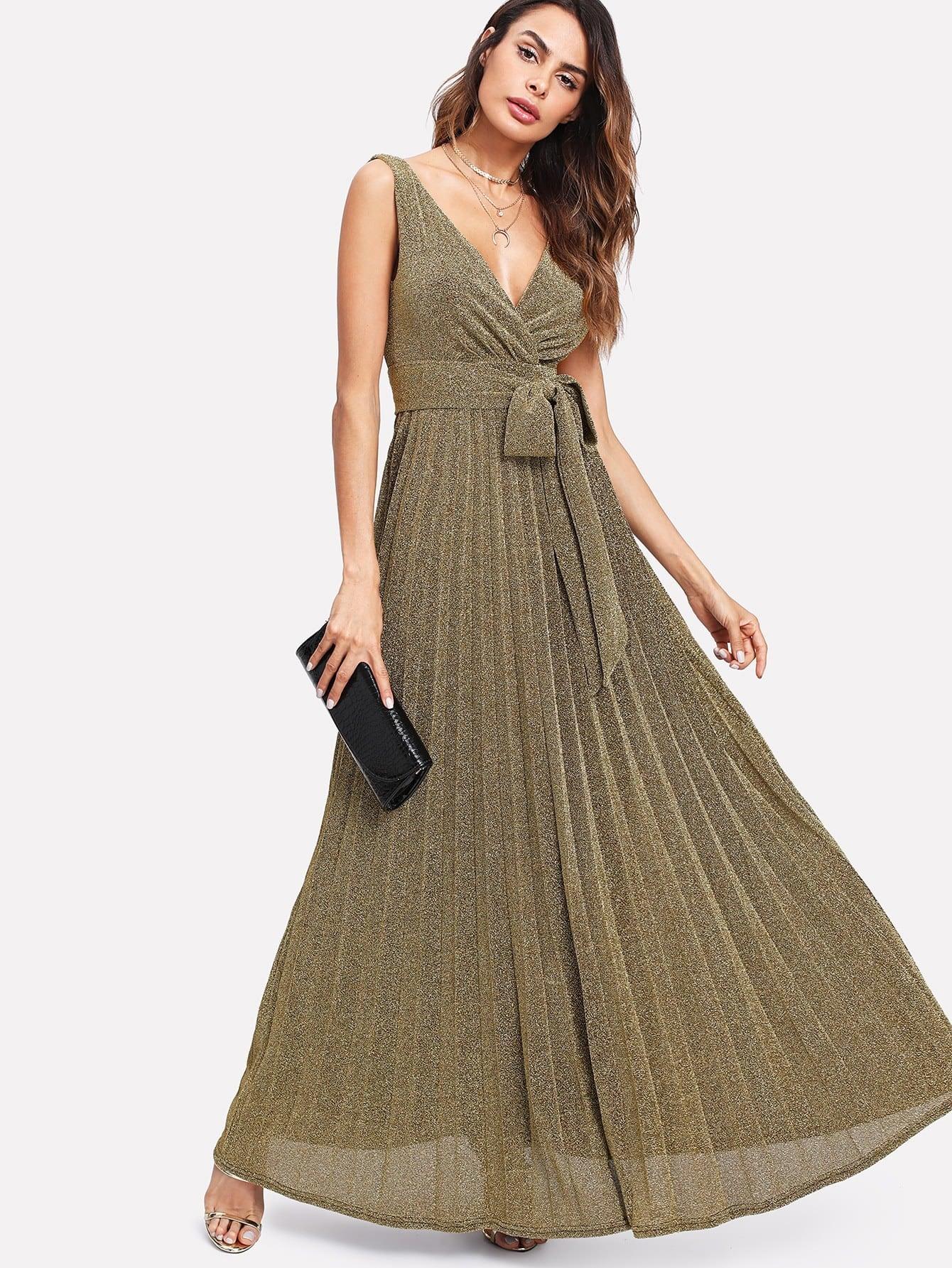 Self Belted Glitter Pleated Surplice Dress surplice neck self belted floral dress