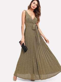 Self Belted Glitter Pleated Surplice Dress