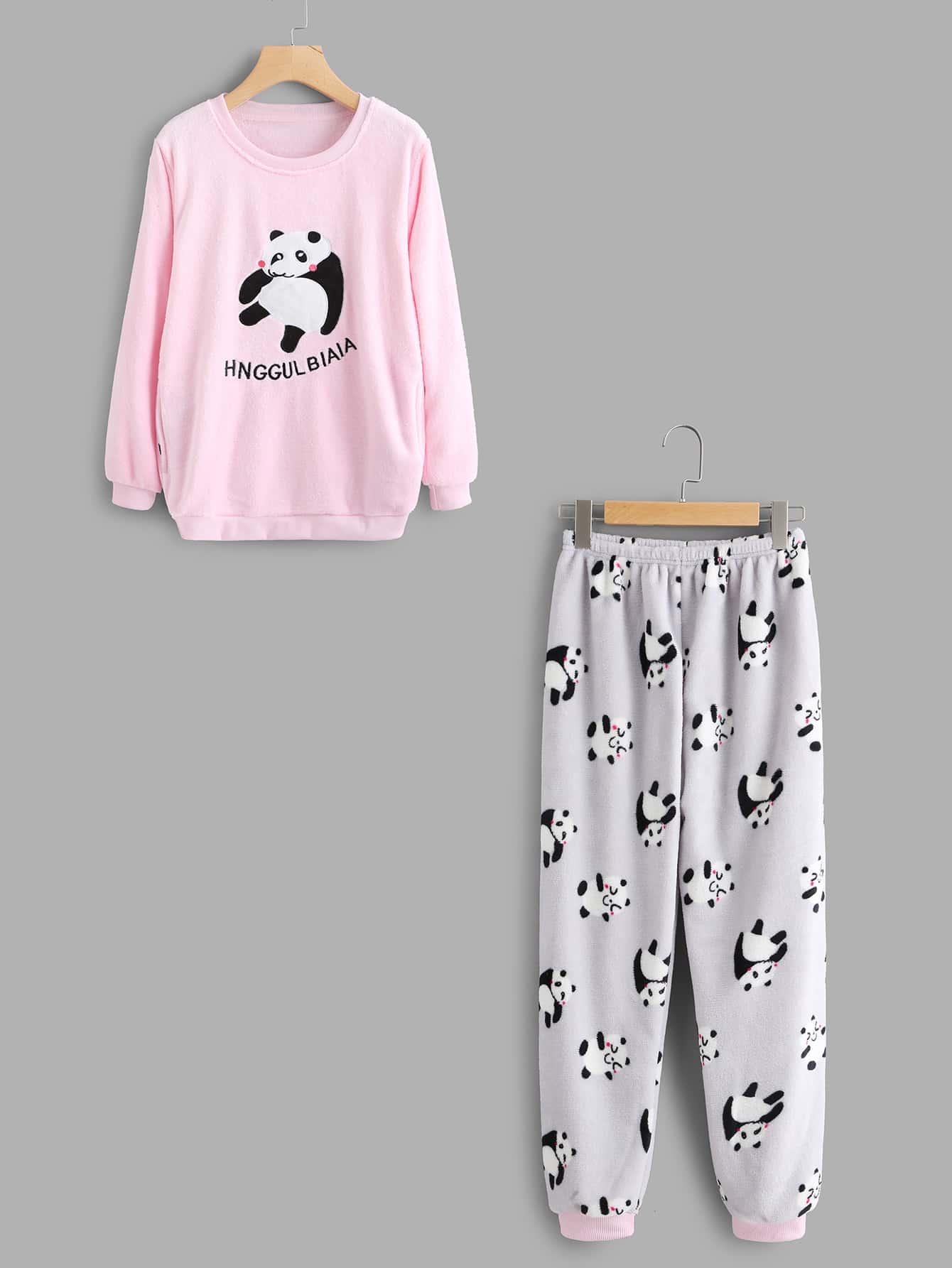 Panda Print Pajama Top And Pants