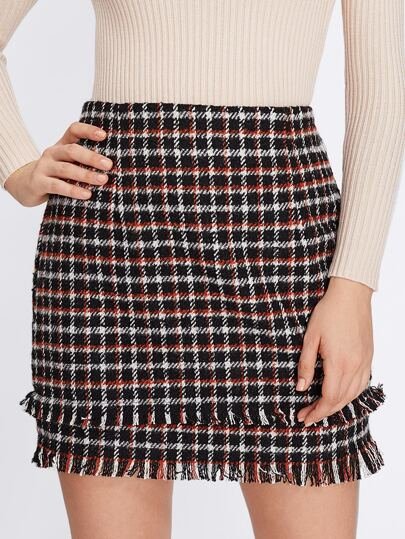 Tiered Fringe Hem Plaid Skirt