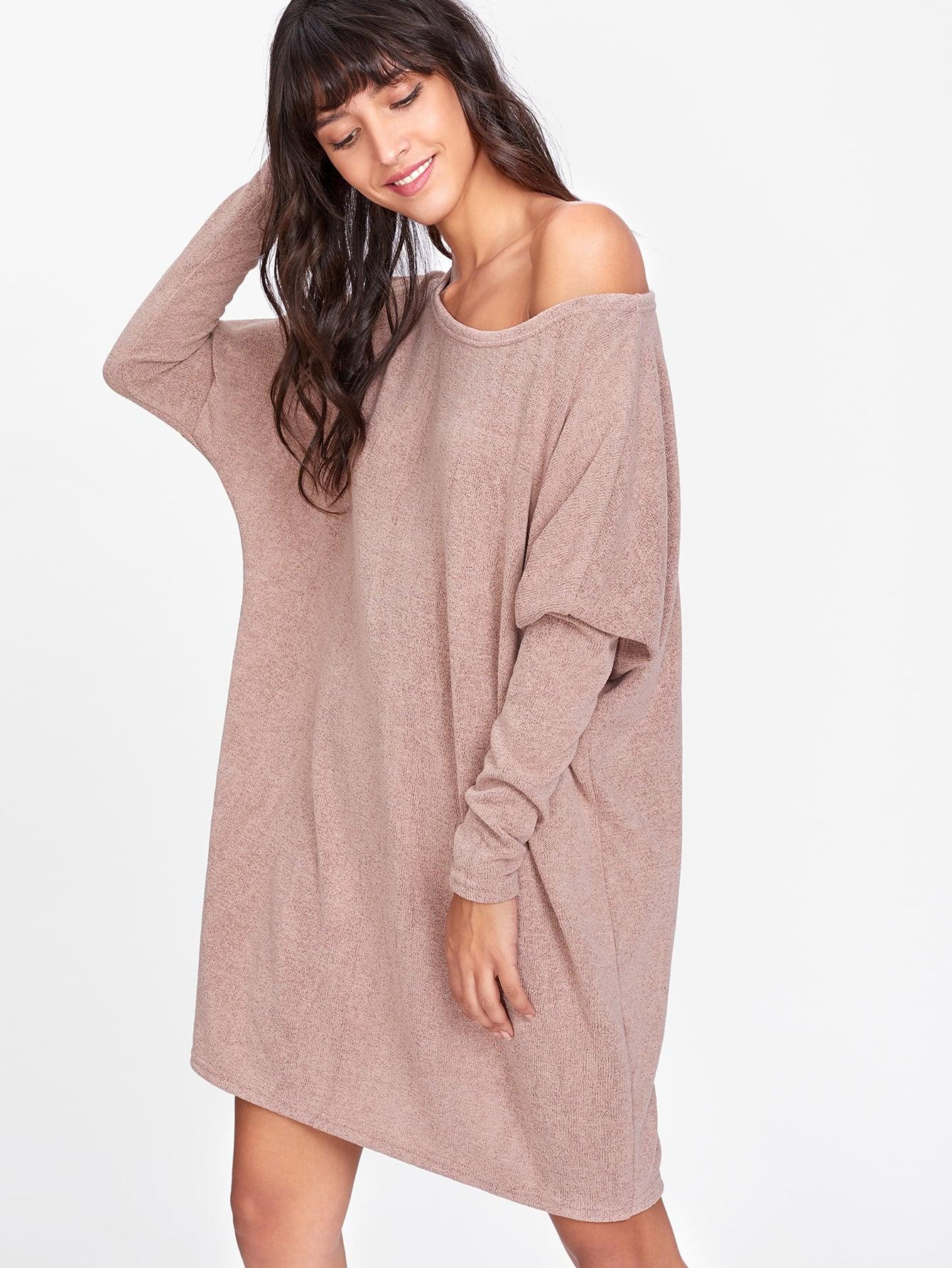 все цены на Batwing Sleeve Asymmetric Shoulder Sweater Dress