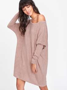 Batwing Sleeve Asymmetric Shoulder Sweater Dress